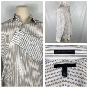 Apt. 9 Brown & Gray Striped Button Down Shirt Lg